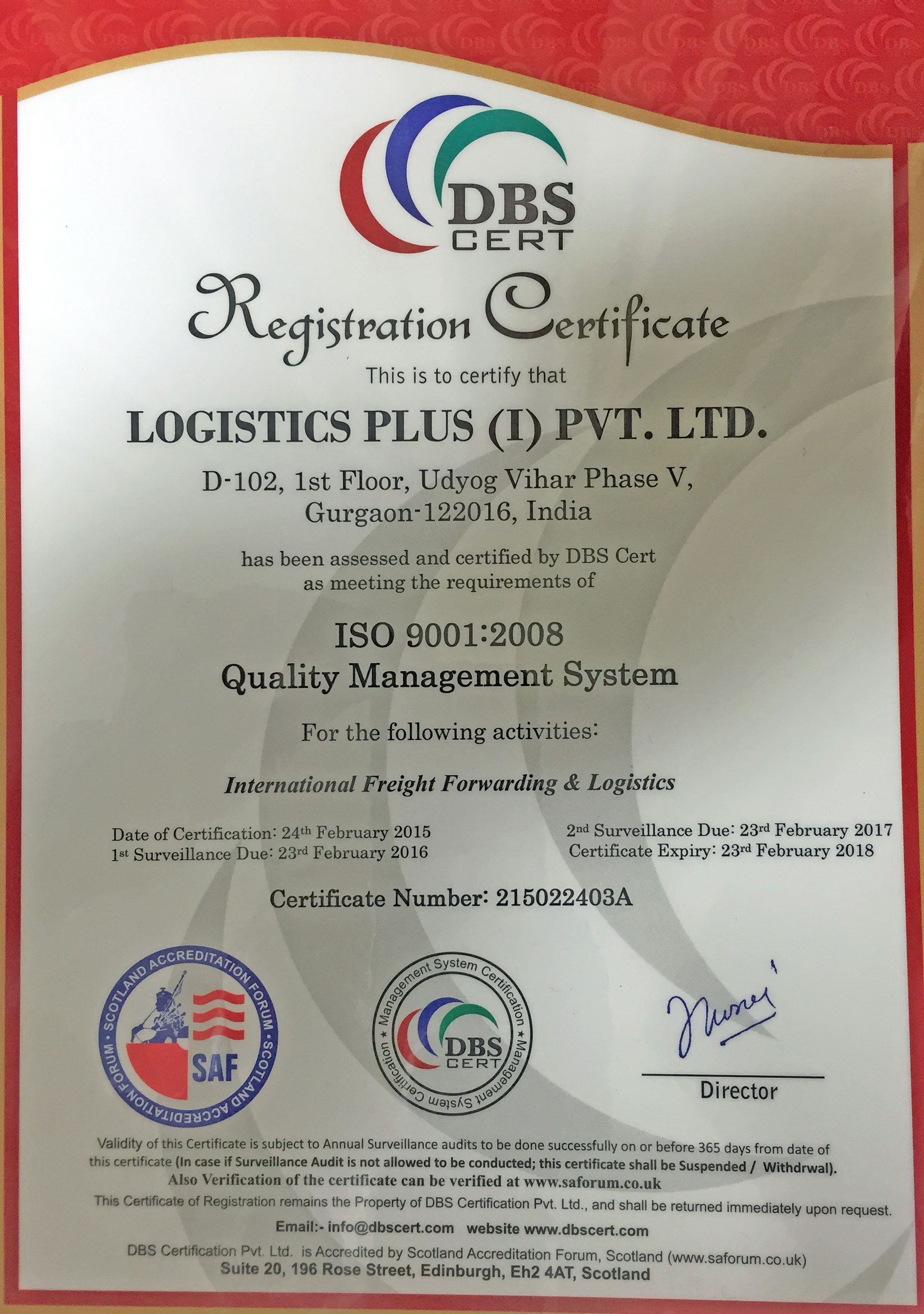 Logistics Plus India Achieves ISO 9001 Certification ...