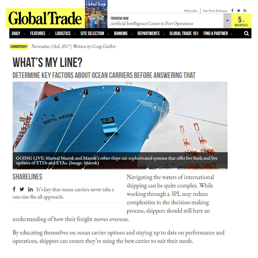 Logistics Plus Comments on Ocean Carriers Options Article for Global Trade Magazine