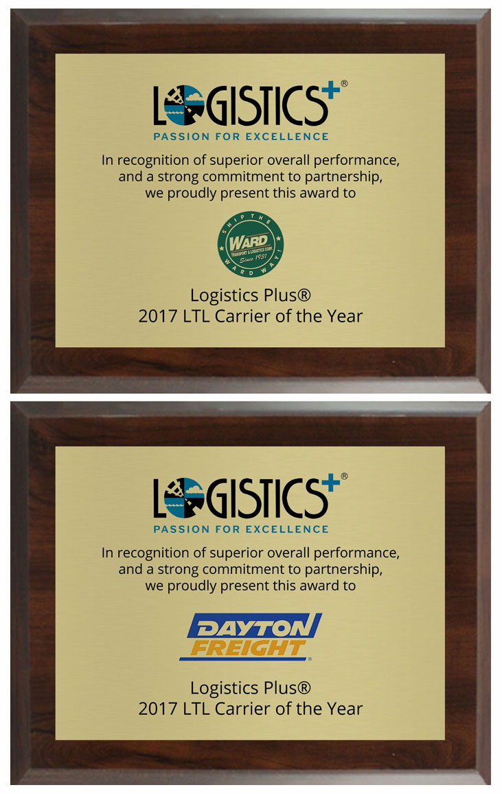 Logistics Plus Recognizes 2017 LTL Carriers of the Year