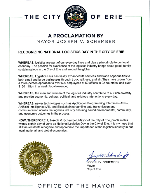 City of Erie Proclamation Thumbnail