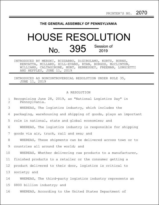 PA House Resolution 395 Thumbnail