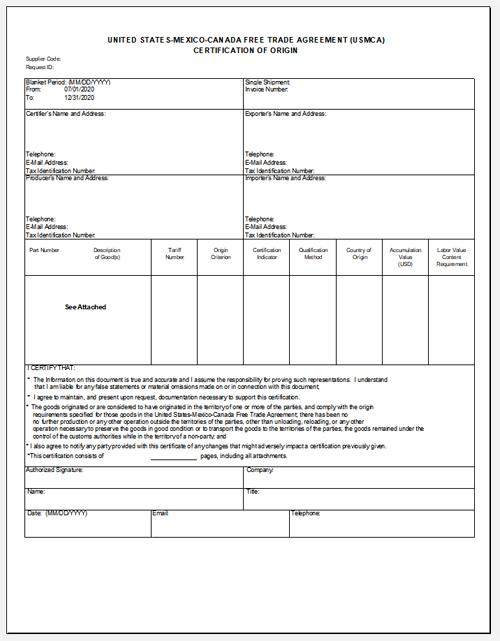 USMCA Certificate of Origin