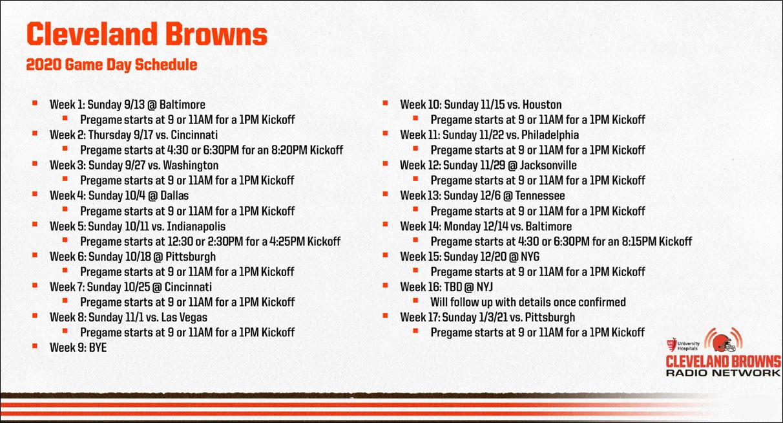 WPSE Cleveland Browns FB Schedule 2020