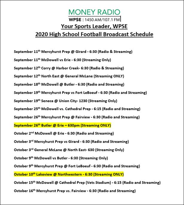 WPSE High School FB Schedule 2020