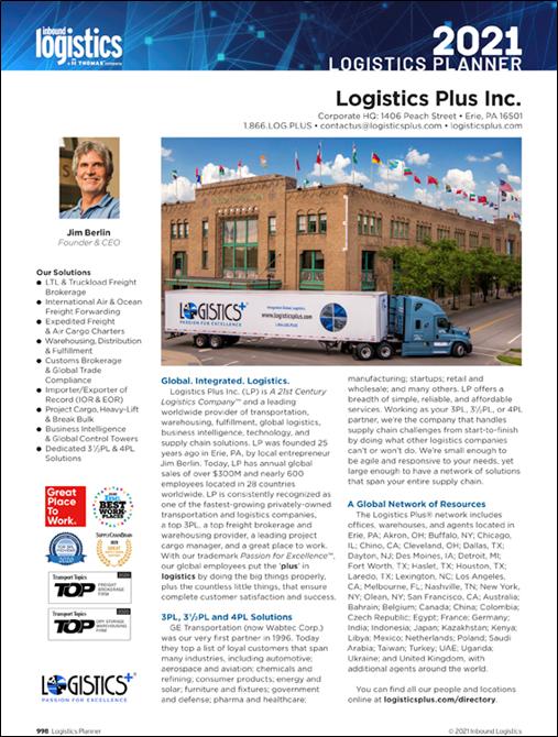 Logistics Plus 2021 Logistics Planner Profile